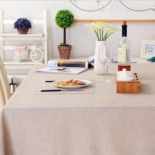 Cotton Linen Table Elegant Solid Color Tablecloth Cover Cloth Home Decoration