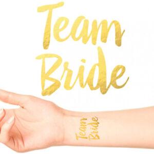 Team-Bride-Bride-To-Be-tatouages-temporaires-or-Funky-Enterrement-Vie-Jeune-Fille-Nuit-Accessoires