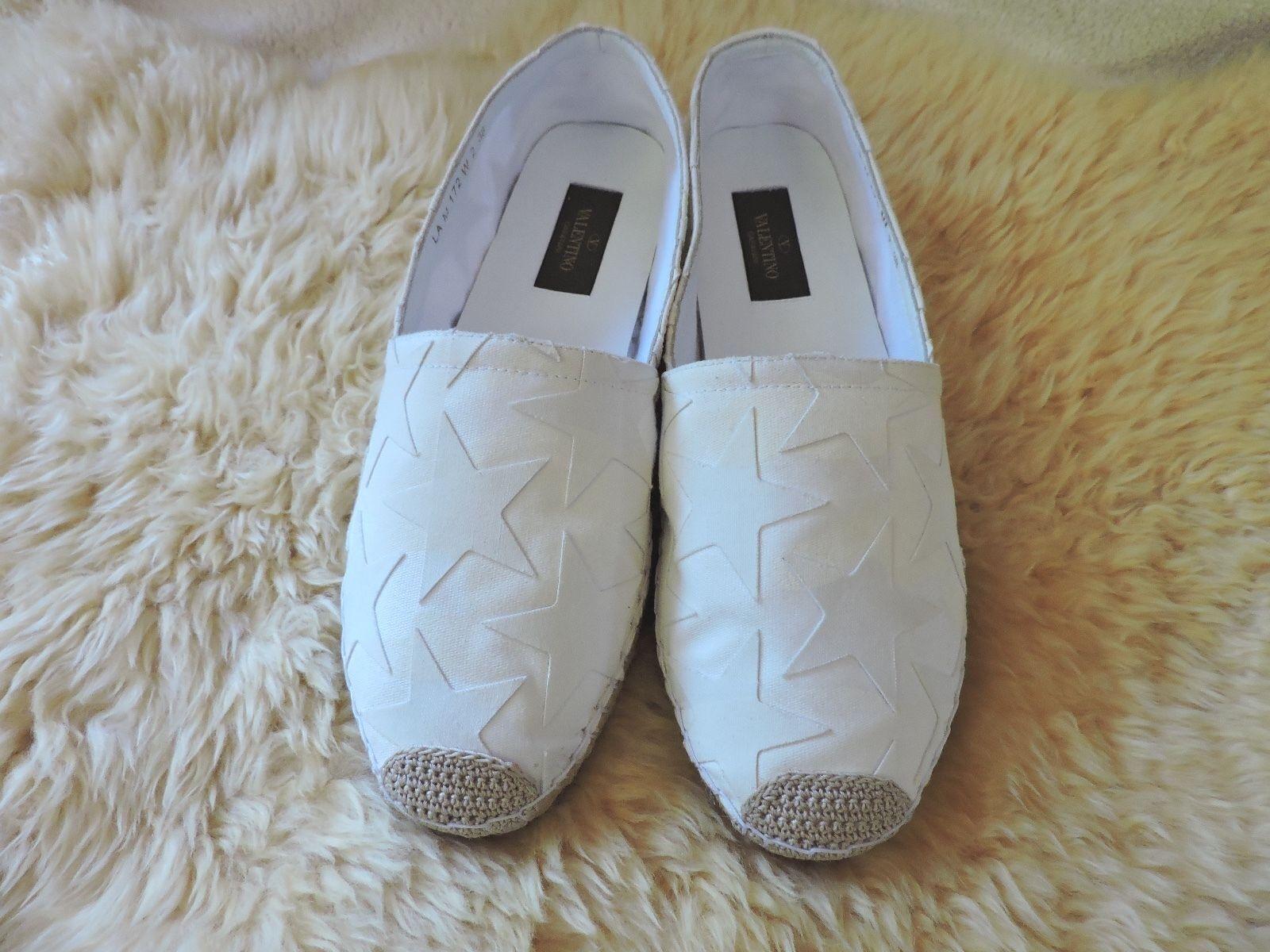 Nouveau  545 Valentino Espadrille Toile Star Blanc plat sur blanc 38