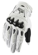 L CARBON FIBER ~ FOX RACING Bomber White MOTORCYCLE TOURING ATV QUADS GLOVE