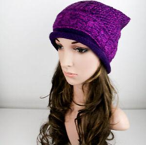 Femmes Tricot Épais Bonnet Large Souple Hiver Chaud Chapeau Fille ... f5b11ef1149