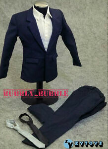 "1/6 Dark Blue Color Suit Set For Hot Toys 12"" Male Figure SHIP FROM USA"