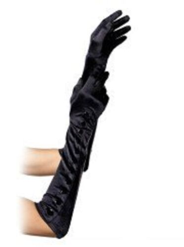 Long Gloves Satin Party Costume Fancy Dress NEW BUTTON Black FAST N FREE POST