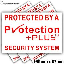 6 x 130mm Protection Plus™ Security Stickers-Alarm Warning Signs-Bell Box,Door