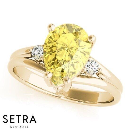 14k Yellow gold Genuine Pear Cut Pink Sapphire Gem & Diamonds Ring
