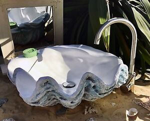 Details About Giant Clam Shell Bathroom Sink Wash Basin Vessel Bowl Counter Top In Aquamarine