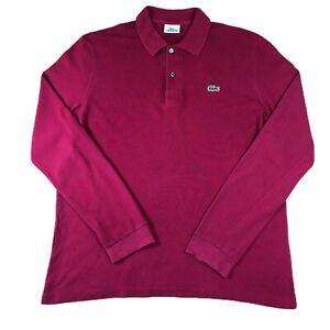Homme-Lacoste-Devanlay-Manche-Longue-Polo-Shirt-rouge-taille-4-Medium-M