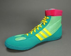 NEW Adidas Combat Speed 4.0 IV Wrestling Shoes Emr Pink Yellow ... 6ee17856f