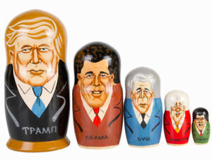 Matryoshka Donald Trump Souvenir Emotions Gift Russian Nesting Doll 5 Pcs