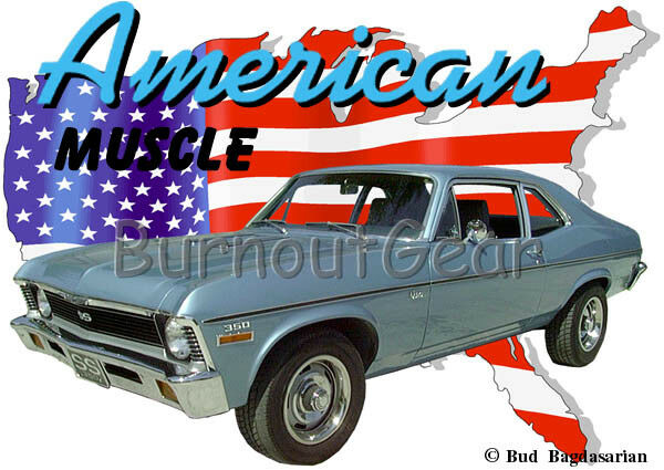 1970 Blau Chevy Nova SS a Custom Hot Rod USA T-Shirt 70 Muscle Car Tees