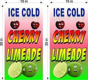 """PAIR OF 15"""" X 30"""" VINYL BANNERS CHERRY LIME ADE LIMEADE"""