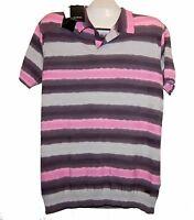 Costume National Pink Gray Stripes Men's Cotton Shirt Polo Magliasz Us 2xl Eu 56