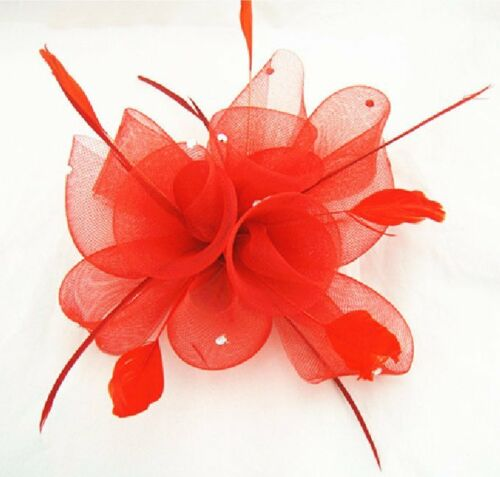 Fascinator Haarclip Brosche Ansteckblume Blume Federn Strass Haarschmuck ROT NEU
