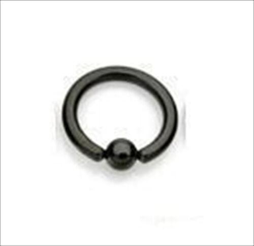 "12g 1//2/"" Titanium Captive Bead Ring Ear Black 5MM Ball"
