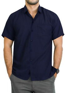 LA-LEELA-Rayon-Loose-Camp-Party-Men-039-s-Shirt-Navy-Blue-Medium-Chest-40-034-44-034