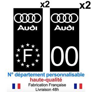 Stickers-autocollant-plaque-d-039-immatriculation-AUDI-voiture-Fond-noir-NOIR