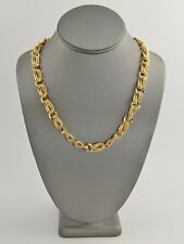 """70s 80's VINTAGE Jewelry MONET TEXTURED GOLD METAL CHAIN NECKLACE - 19"""""""