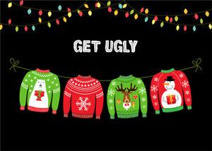 Ugly Christmas Sweater Party Backdrop Tacky Xmas Decor