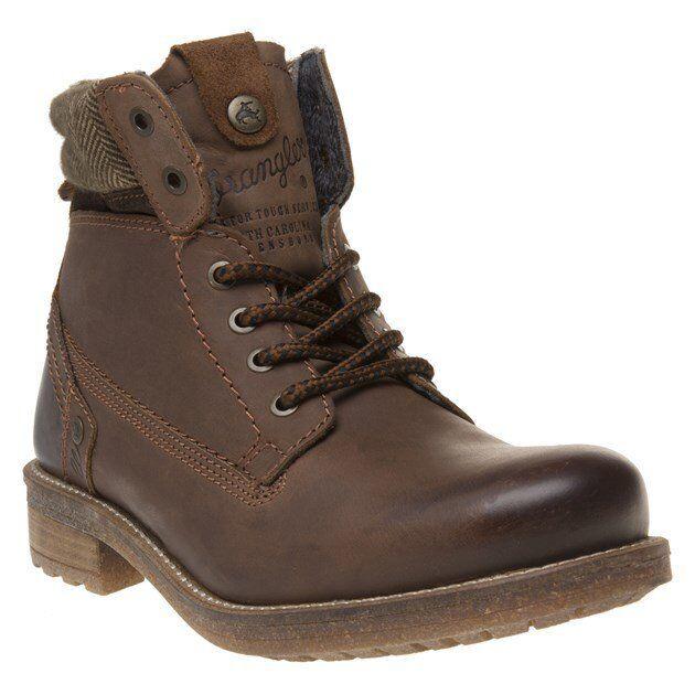 Nuevo Para hombres Cuero Marrón Wrangler Hill Tweed Chukka botas Con Cordones