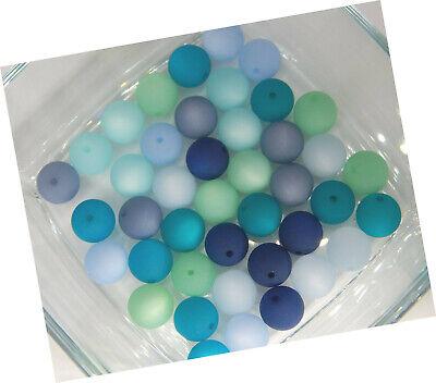 8 mm Meeres grün-blau LACKIERTE GLASPERLEN KUGELN  70 Stück Glasperlen Mix