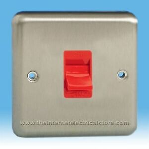 Varilight-45A-Cooker-Switch-in-Standard-plate-Mirror-Chrome-with-Red-Inserts