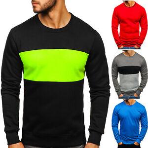 Sweatshirt Langarmshirt Pullover Rundhals Classic Sport Herren Mix BOLF Basic