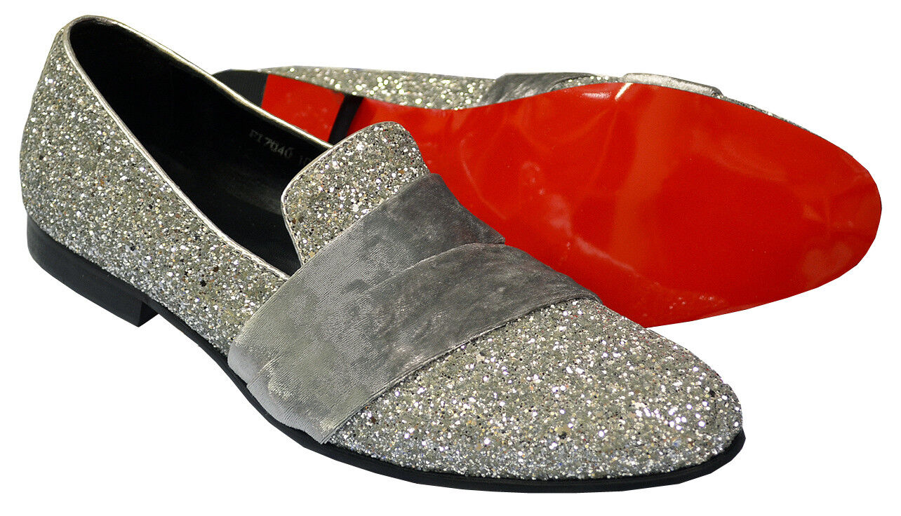 Fiesso Silver Grey Shiny Glitter   Velvet Leather Fashion Fashion Fashion Slip-On shoes FI7040 e5fdce