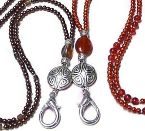 Beaded Lanyard chain necklace choose color pearl silver dragonfly Work ID badge holder