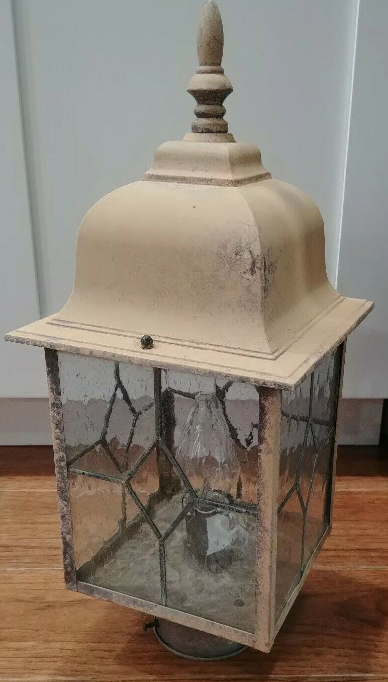 Vintage Outdoor Post Lamp Garden Lantern Seedy Leaded Glass Weatherot Tan