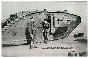 Antique-WW1-military-printed-postcard-The-Tank-Bank-After-Business-Hours