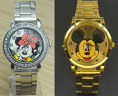 Fashion Women Girl Minnie Mouse design dial Crystal Steel Metal Strap  watch