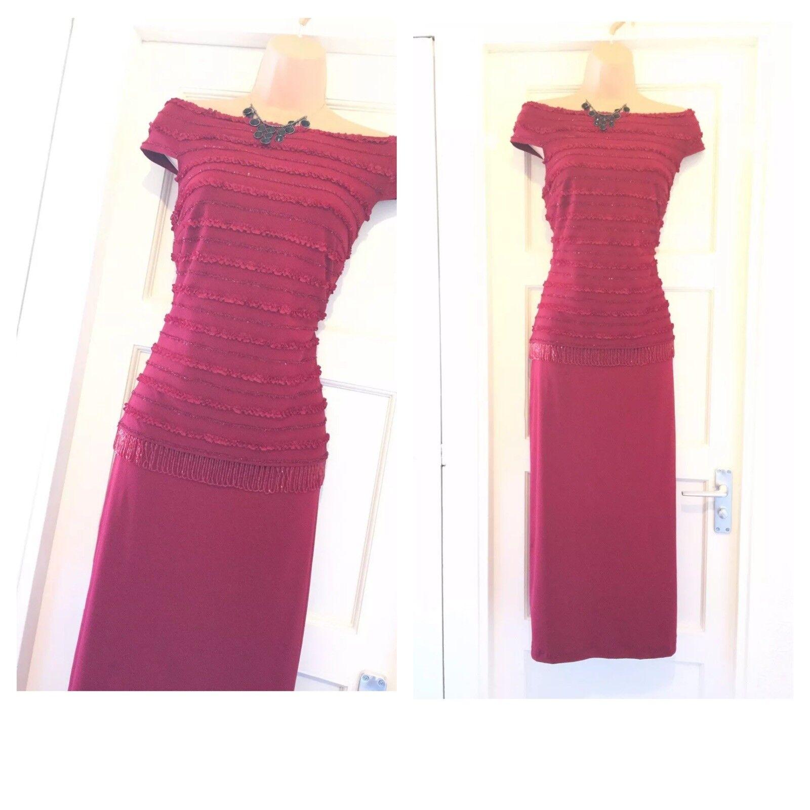 Gorgeous Joseph Ribkoff Shoulder Embellished rot Dress Größe 14