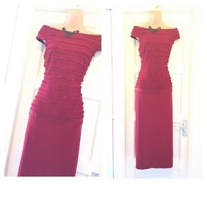 spallina ribkoff in Joseph 14 abbellita Splendida abito taglia rosso fqUwx