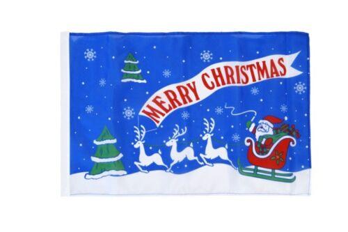 Merry Christmas Weihnachtsmann mit Schlitten Banner  Fahnen Flaggen 30x45cm