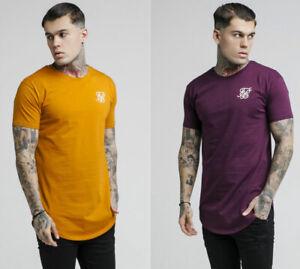 SikSilk-Mens-Short-Sleeve-Crew-Neck-Curved-Hem-T-Shirt-Orange-Burgundy