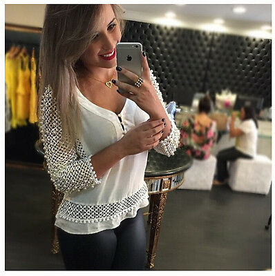 Women' Sexy   Loose Chiffon V-Neck Tops Long Sleeve Shirt Casual Blouse 2015