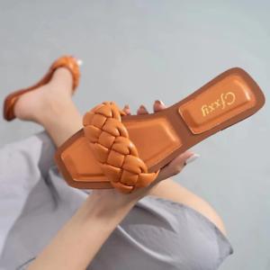 New Woven Slippers Women Square Toe Flip Flops Fashion Leather Flat Sandals Fema