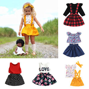5e810fb8c 2/3pcs Kids Baby Girls T-Shirt Tops Dress Headband Summer Clothing ...