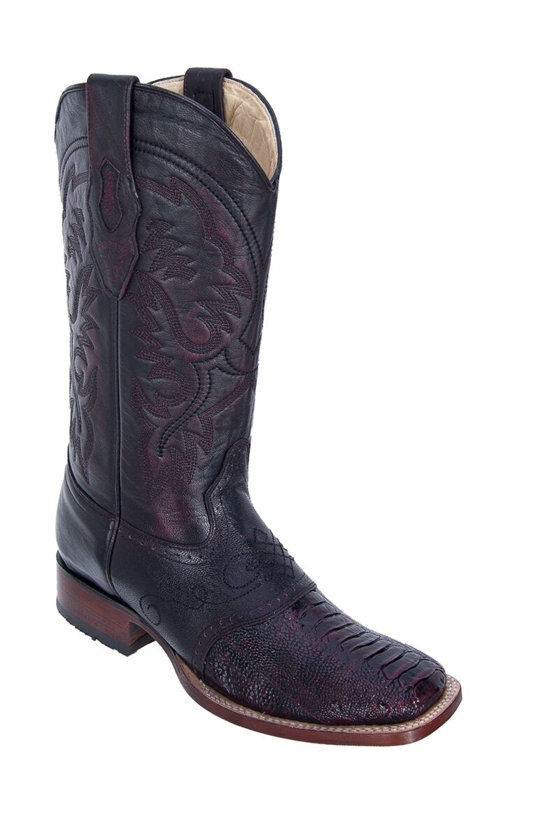 LOS ALTOS CHERRY GENUIN OSTRICH LEG SQUARE TOE WESTERN COWBOY BOOT EE 8210518