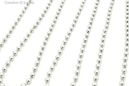 25 STAINLESS STEEL 24INCH BALL CHAIN NECKLACES LOT HIGH QUALITY 2.4MM BEAD