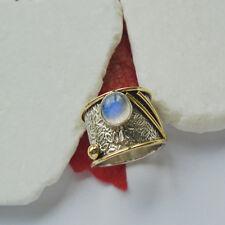 Mondstein blau weiß Designer Bandring Ring Ø 18,75 mm 925 Sterling Silber neu