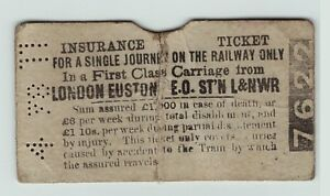 RARE-1878-1st-Class-Insurance-Ticket-London-North-Western-Railway-Euston-L-amp-NW-RR