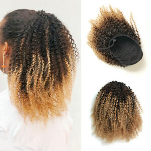 100-Human-Hair-Afro-Kinky-Curly-Ponytail-Ombre-Clip-in-Afro-Puff-Drawstring-Bun