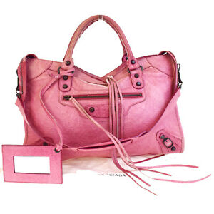 Authentic-BALENCIAGA-The-City-2Way-Shoulder-Hand-Bag-Leather-Pink-Mirror-86V2344