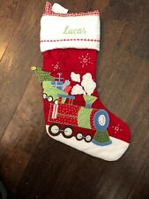 Knit Pottery Barn Red And Cream Train Christmas Stocking
