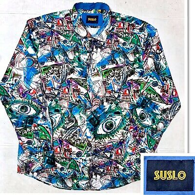 Mens Suslo Couture Shirt Slim Fit Blue with Abstract Bicycle Prints Button Front