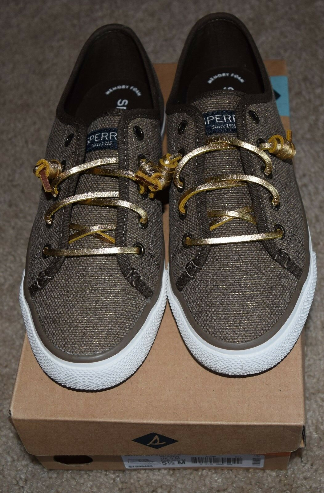 NEW! Women's Sperry Top-Sider Size 5.5M Seacoast Canteen Brown/Gold No Tie Shoes