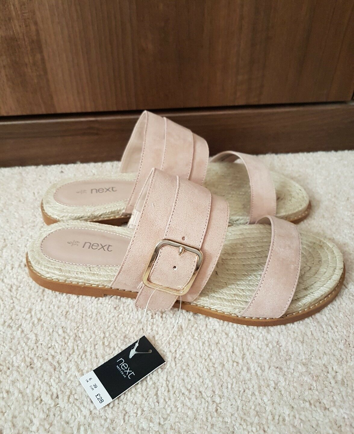 Men's/Women's Next Light Pink/Peach and Suede Effect Sandals Practical and Pink/Peach economical Order welcome Acknowledgement feedback a10492