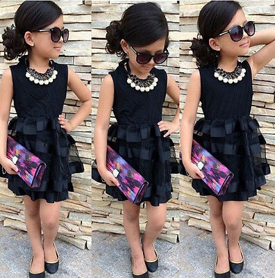 NEW Baby Kids Girls Princess Evening Party Summer Black Striped Tulle Dress 2~8Y