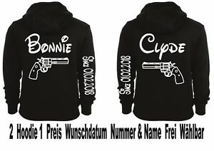 Hoodie Pullover Bonnie Clyde Motiv Partner Look Top Love Viele Farben XS - 5XL
